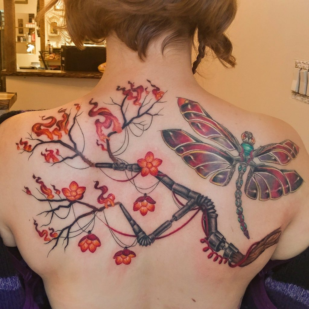 robotic sakura tree in fire with dragonfly tattoo