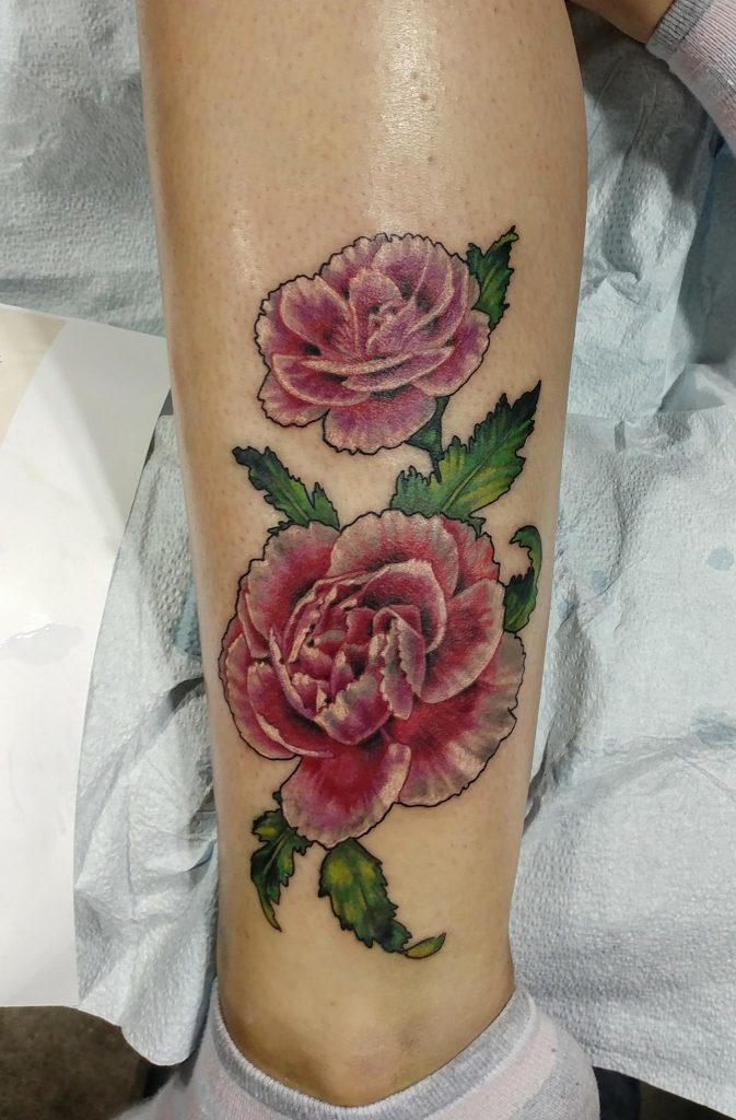Semi-realism flowers tattoo